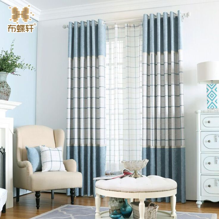 Free Shipping North European Style Checks Blue and White Stitching Curtains Chenille Luxury Curtains Blinds for Study Room