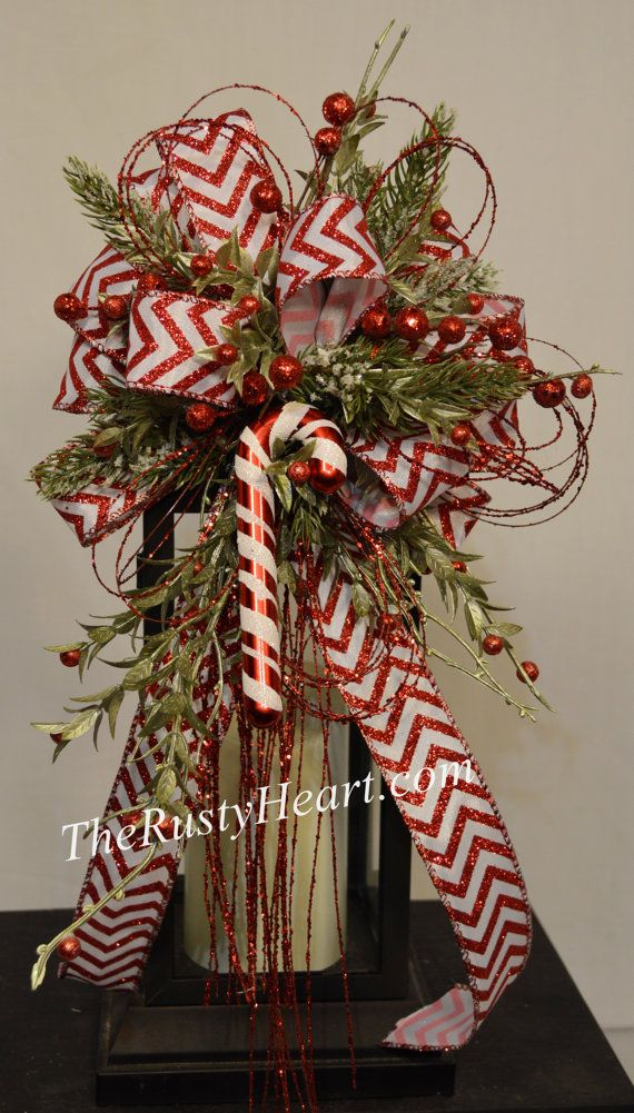 Christmas Lantern Swag with Candy Cane by TheRustyHeart on Etsy
