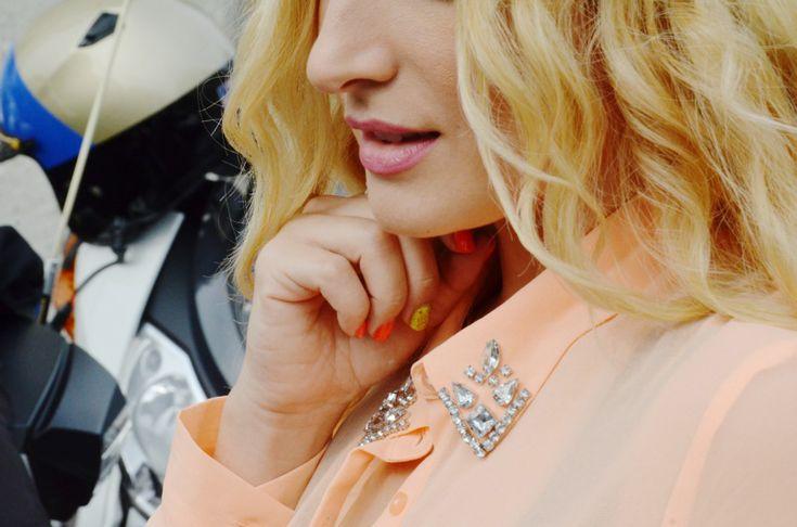 jewels on collar - OOTD: sheer peach on KCAL 9 news