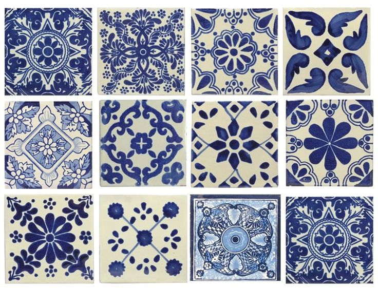 10 grandes de color azul y blanco mexicano o por ThePotatoFarm