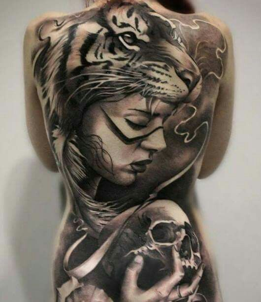Full Back Tattoo | Tiger Tattoos | Skull Tattoo | Pic fromTattoo Lovers FB page