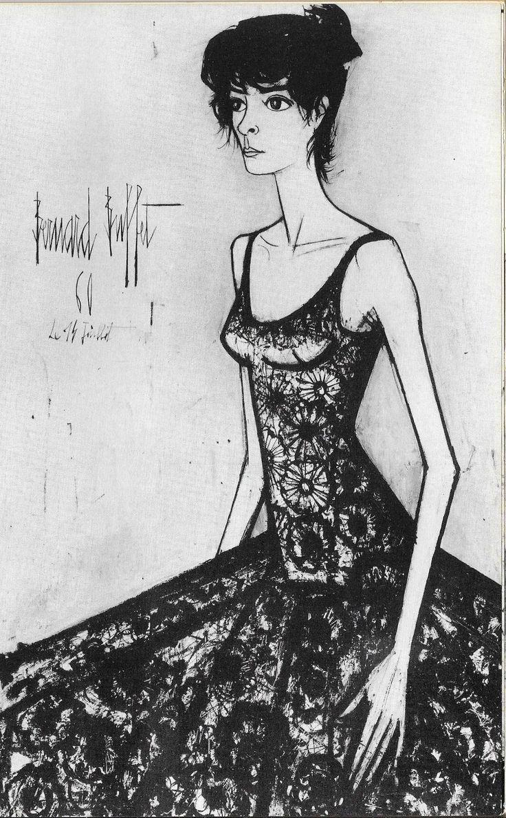 Bernard Buffet - Portrait d'Annabel - 1961 b/w