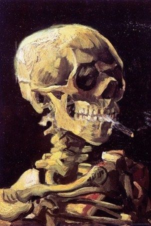 Skull with Cigarette Vincent Van Gogh #impressionism