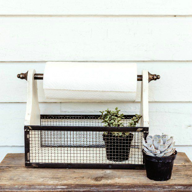 """Country Cottage Paper Towel Holder wire mesh storage basket - store flatware, paper plates, and napkins 18.25"""" x 7.25"""" x 11.25"""" H."""