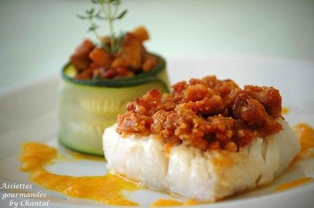 Cabillaud en crumble de chorizo, petite fondue d'aubergine   Assiettes Gourmandes