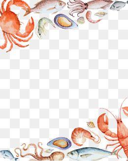 2019 的 Seafood Border Background, Seafood Feast, Lobsters ...