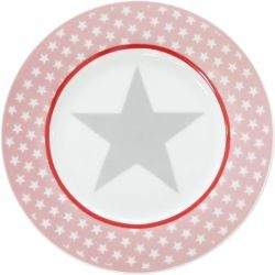 Krasilnikoff Happy Plate - Pink Big Star - Ø 20 cm