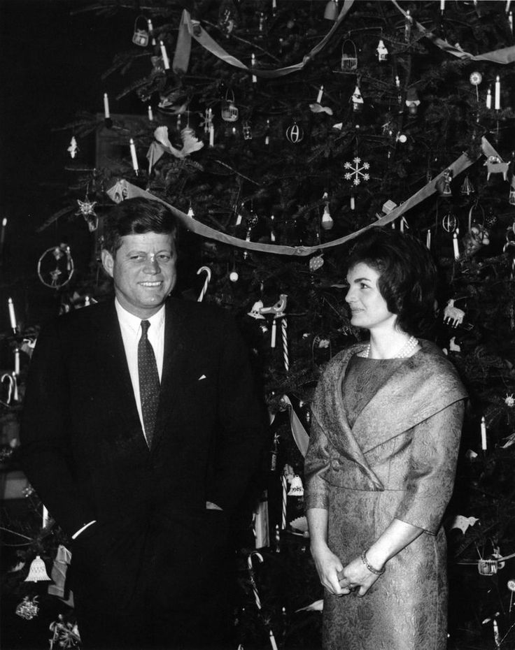 President John F Kennedy and First Lady Jacqueline Kennedy in front of the White House Christmas Tree on December 13, 1961.