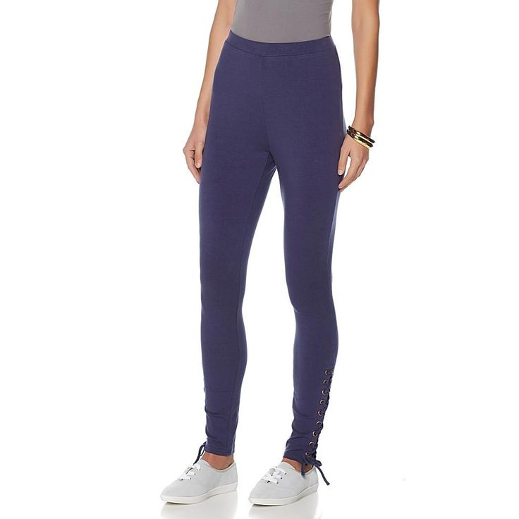 Wendy Williams Ankle-Laced Knit Legging - Blue