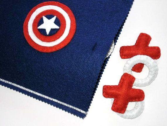PRONTO a nave  Capitan America Tic Tac Toe gioco di twinsandcrafts, $40.00