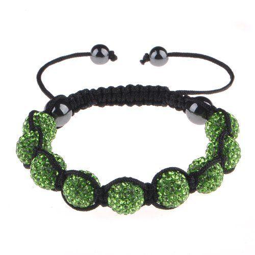 "Top Quality Micro Pave 9 Olive Green Crystal Balls Shamballa Bracelet 12mm/8mm Hunnt. $9.99. Pave Crystal Ball. HQ Nylon Macrame Cord. 10MM Black and White Crystal Ball. 7.5"" to 11"" Adjustable Bracelet"