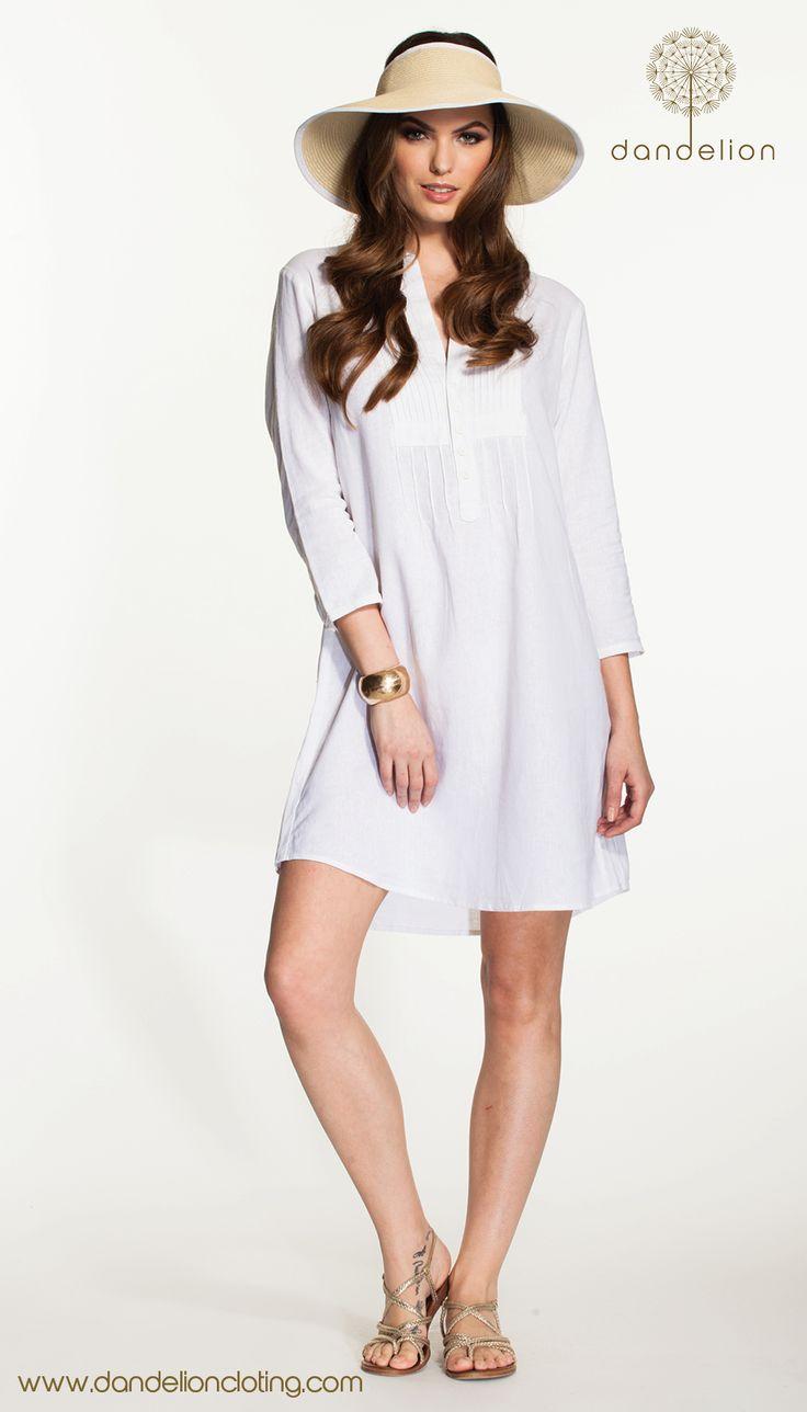 Beautiful white linen tunic. Fresh and chic Resort wear
