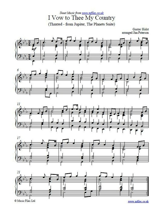 I Vow To Thee My Country Is A Hymn Based Using Gustav Holsts Melody From Jupiter From The