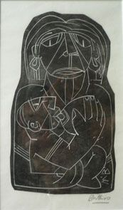 Walter Battiss. Well known for his (slightly odd) geometric prints. Here is a mother feeding her child.