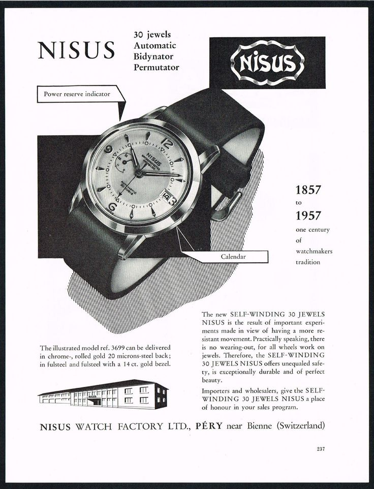 1950's Vintage Nisus 3699 Calendar Watch Mid Century Modern Design Art Print AD