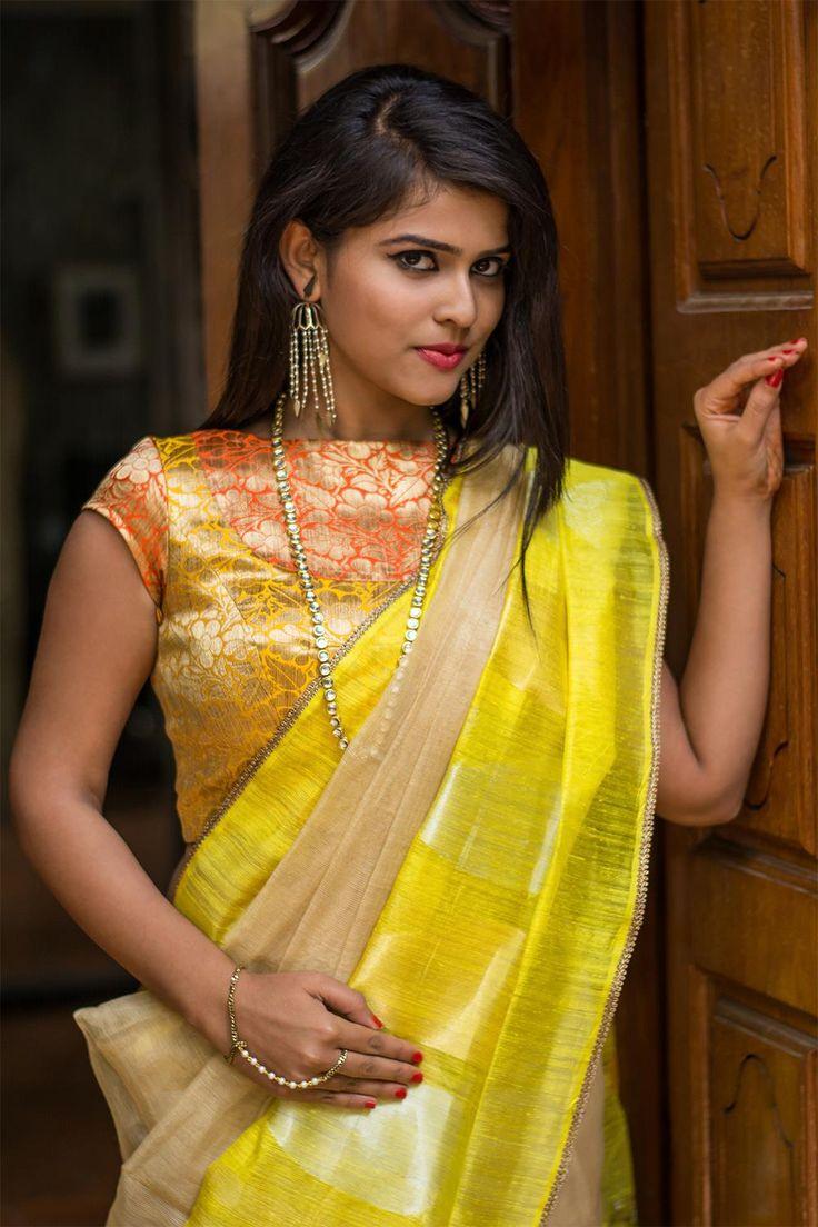 Yellow and orange brocade boat neck blouse with bib detail #blouse #banaras #brocade