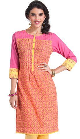 Pink and Lime Printed Cotton kurti | Naari