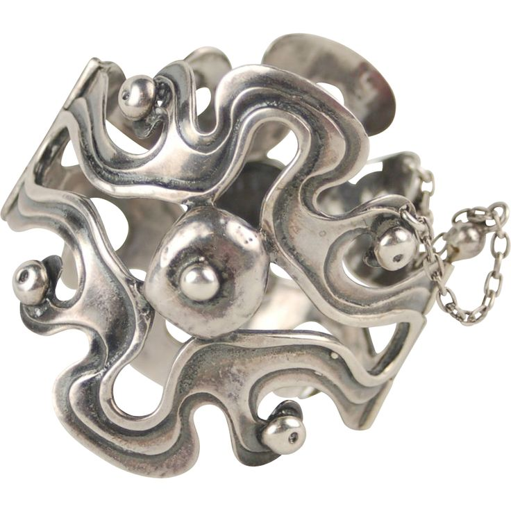 Scandinavian Modernist Biomorphic Sterling Silver Bracelet Seppo Tamminen.. Finland