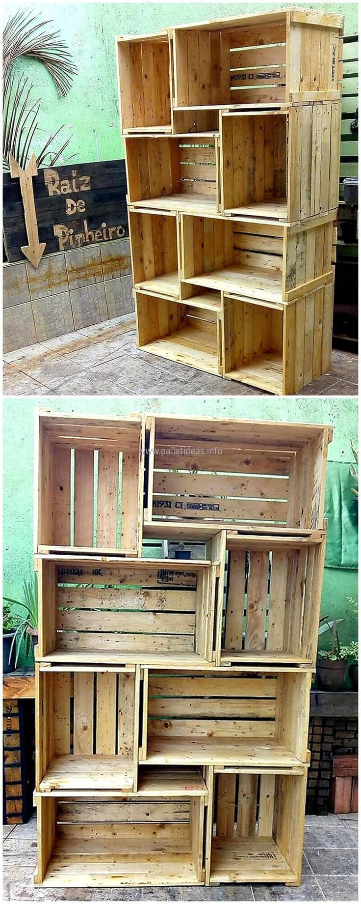 pallets fruit crates shelving cabinet