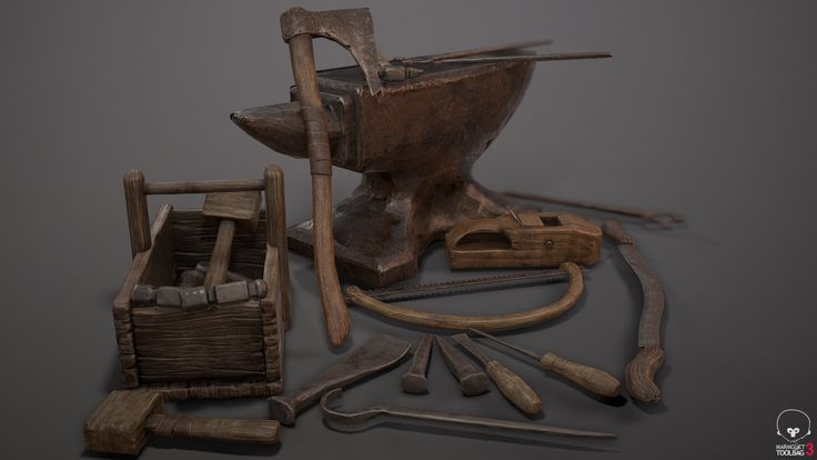 Medieval Craftsman Tools Pack (Complete), Brock Amundson on ArtStation at https://www.artstation.com/artwork/b3bKg