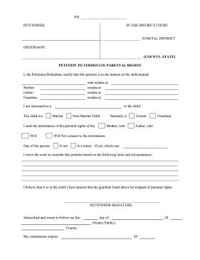 If a child is being neglected or mistreated, a petitioner can use this form to request the termination of parental rights. Free to download and print