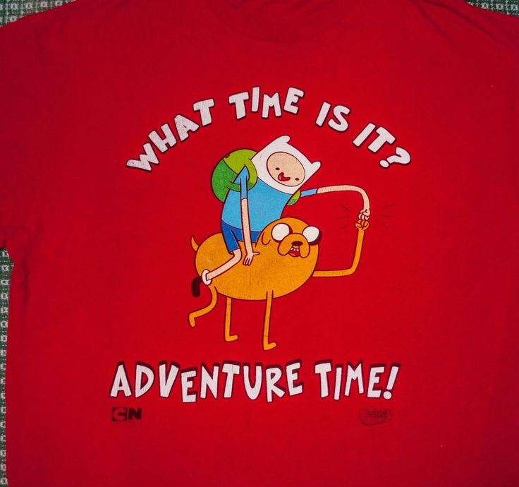 t-shirt red WHAT TIME IS IT ADVENTURE TIME tee FINN JAKE fist bump XL adult uni #DeltaProWeight #GraphicTee