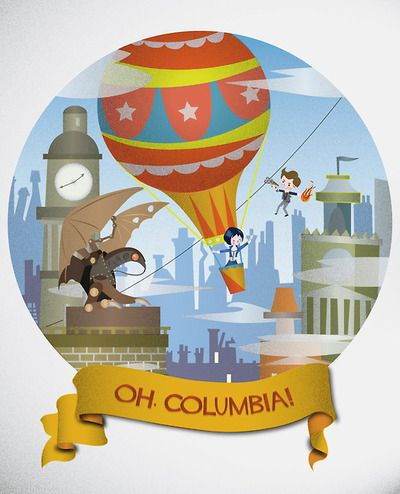"""Oh, Columbia!"" Bioshock:Infinite art by Nuri Amanatullah  (Reminds me of WDW's ""It's A Small World!"" - love it!)"