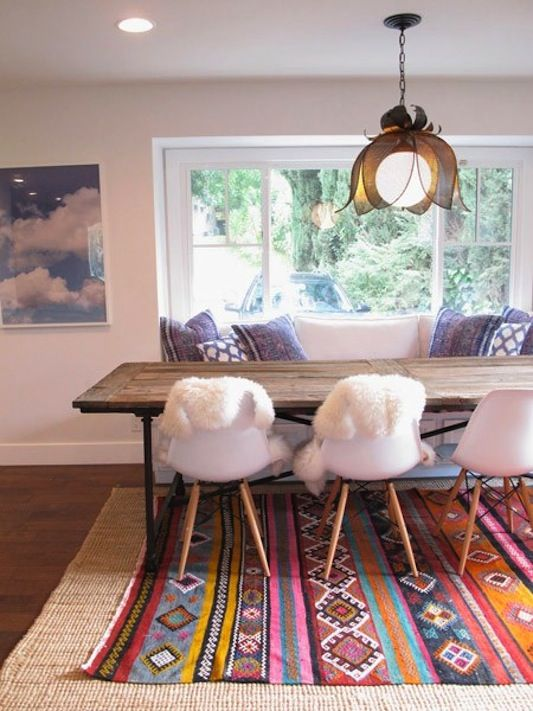 Layered rugs: Dining Rooms, Bench Seats, Amber Interiors, Lights Fixtures, Color, Interiors Design, Cloud, Layered Rugs, Dining Tables