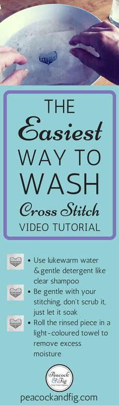Washing cross stitch and embroidery is very important to do at the end of a stitching project, and has never been this easy! Check out the video tutorial at https://peacockandfig.com/2016/09/washing-cross-stitch-embroidery/