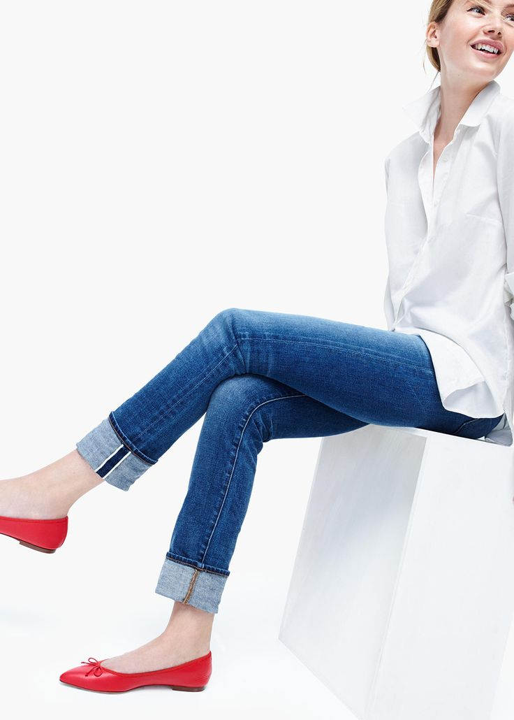 GEMMA FLATS Red flats, denim, white button down
