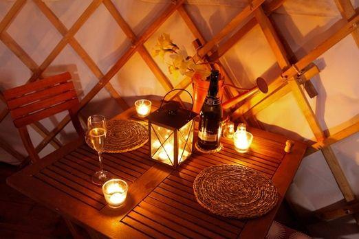 Candlelit yurt dinner