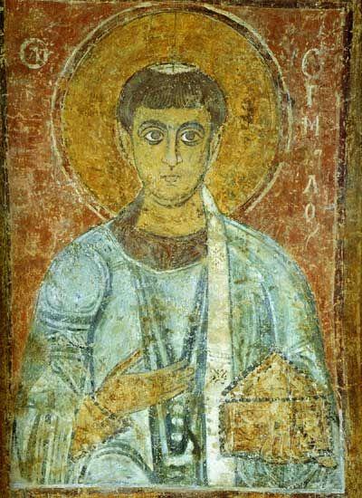 Святой Ермил Фреска в западной внутренней галерее.