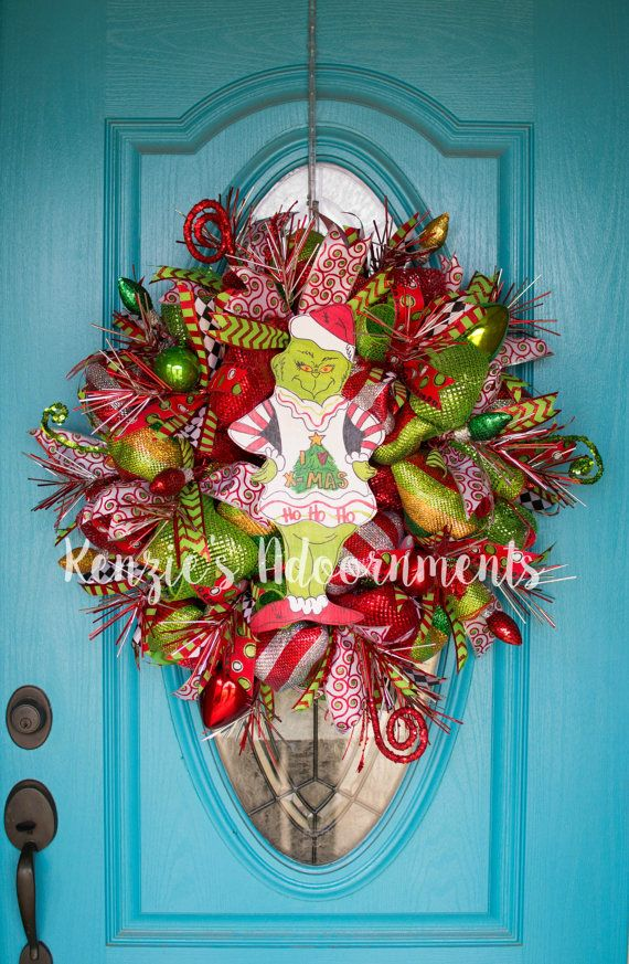 The Grinch Wreath Deco Mesh Christmas Wreath by KenziesAdoornments
