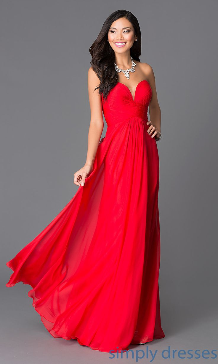 Forced to wear a ball gown - Lf Av 0546 Floor Length Strapless Red Gown By Abbie Vonn