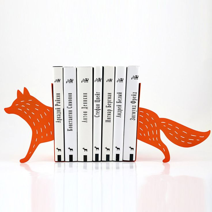 """Minimalistic and stylish bookends - Reading fox - A touch of nature or fairy tail on your shelf. Whatever you choose. It's orange and it's beautiful :)  Laser cut for precision, strong enough to hold a bunch of favorite books.  One piece measures approximately 7""""5 in height and 7"""" in width, 4""""3 deep. (19 by 18 by 11 cm)  Sold by a pair only."""