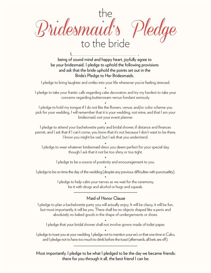 The Bridesmaid S Pledge To Bride