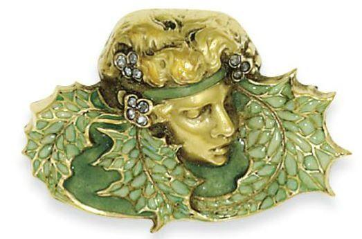 Lalique 'Head of Woman' Brooch: enamel | sothebys.com