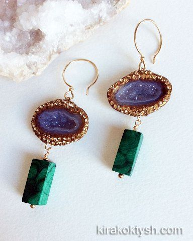 Kira koktysh Jewelry Earrings (Materials: Tabasco geode with Chalcedony from Mexico, Malachite, Swarovski crystals, Gold-filled earwire)