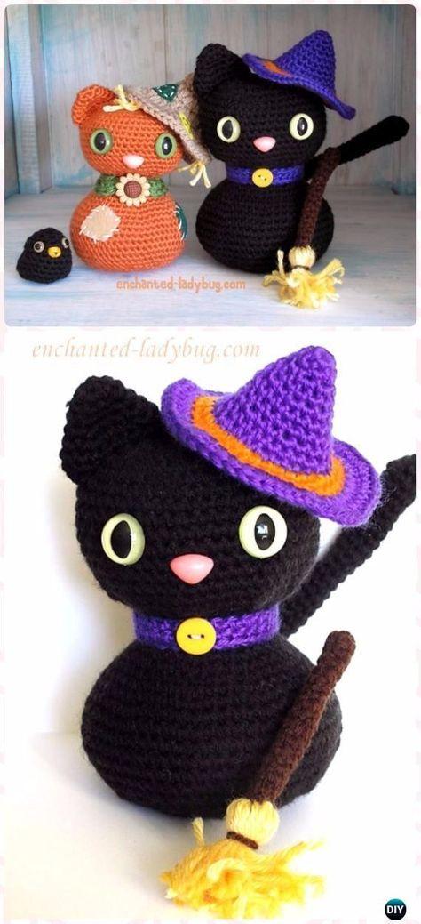 Crochet Amigurumi Gato Negro de Halloween Patrón Libre - Crochet ...