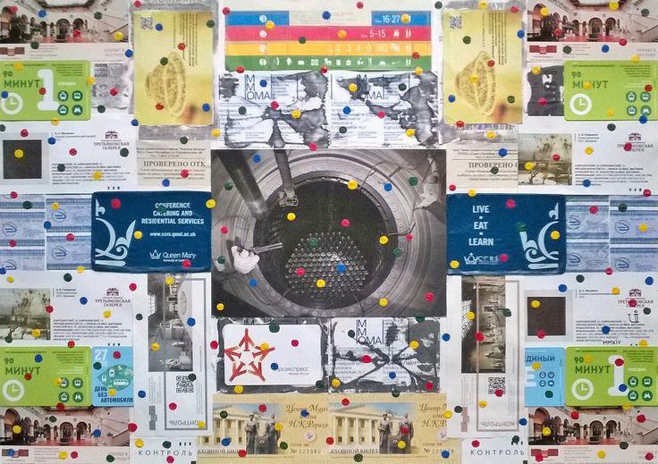 First Nine Months in Moscow / Первые Девять Месяцев в Москве  A2,paper,acrylic,photo,plastic / А2,бумага,акрил,фотография,пластик  #art #contemporary_art #mixed_media #collage #ticket #moscow #citylife