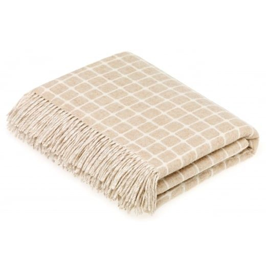Bronte by Moon Merino Lambswool Athens Beige Throw Blanket