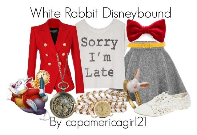 """White Rabbit Disneybound"" by capamericagirl21 ❤ liked on Polyvore featuring Michael Kors, Balmain, Wet Seal, Disney, Geneva, women's clothing, women, female, woman and misses"