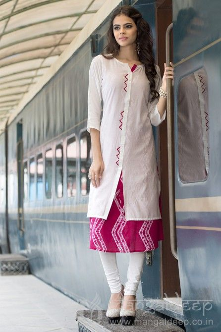 Excellent Off White And Pink Rayon Cotton Kurti For more information :- Call us @+919377222211 (Whatsapp Available) (y) :)