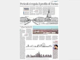 """Lo """"skyline"""" della città di Torino visto dall'artista Pericoli, dalla riva destra del Po.Pericoli aveva già studiato la città e ne aveva colto particolari scorci e sorprendenti vedute attraverso alcune finestre (reali) torinesi da cui il suo occhio attento e privo di condizionamenti (Pericoli è marchigiano) aveva osservato il panorama di piazze, strade, giardini, cortili."""