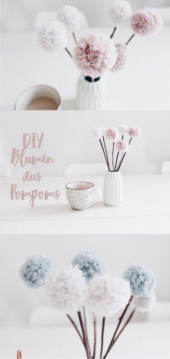 DIY DECO – zelf bloemen maken van pompons. Met wol en natuurlijke materialen …  – basteln