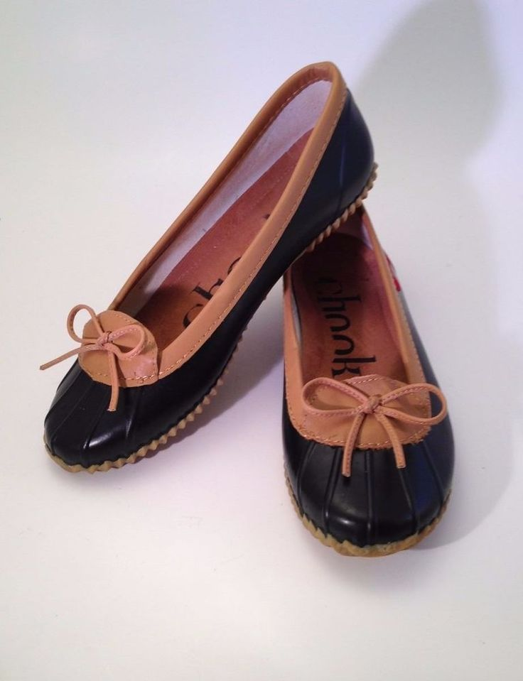 Chooka Duck Skimmer Rubber Woman's Shoe Size US 9 EUR 40.5 Black Tan Rain  Wear