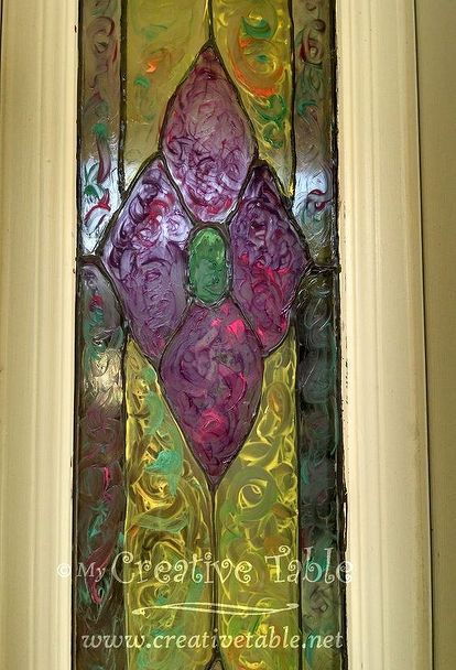 how to make faux stained glass with old windows