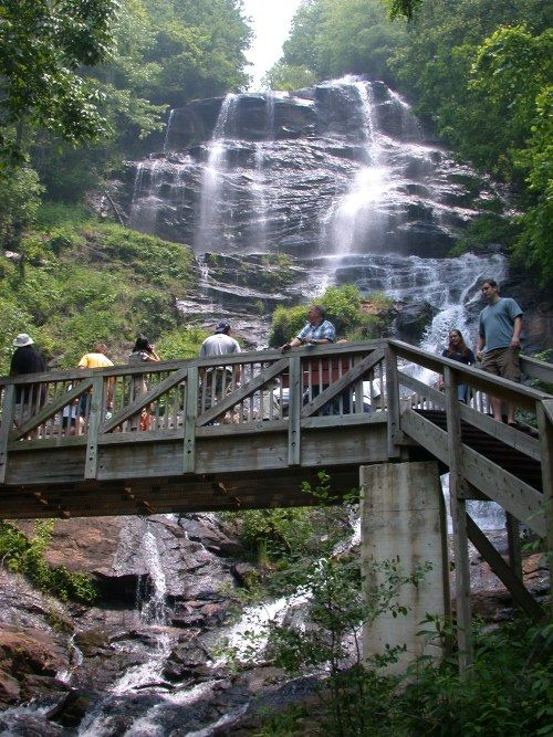 amicalola falls - at the very start of the appalachian trail.  near dawsonville, ga.  there are 604 stairs straight up to the top of the waterfall.