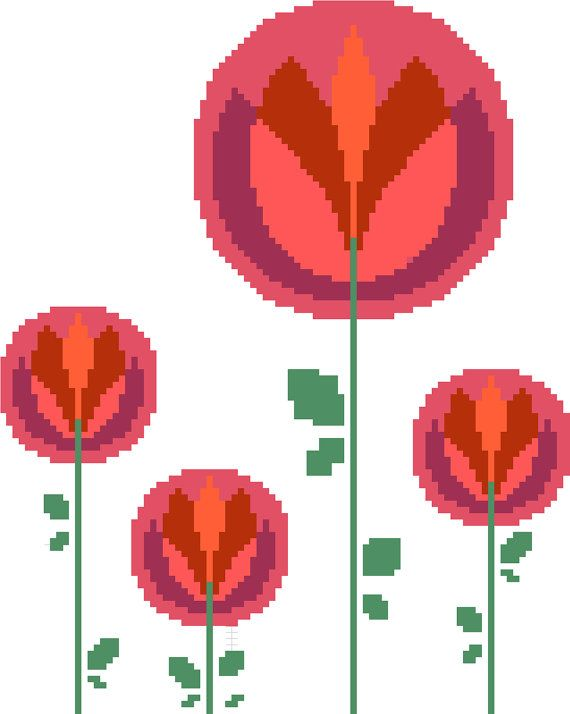 Modern cross stitch pattern of a group of warm coloured blooms by crossstitchtheline This design is inspired by 60s and 70s floral textiles. It's cheerful and fun. perfect for any contemporary living setting!