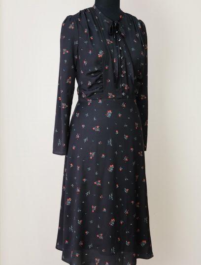 Платье в мелкие цветы по мотивам Bottega Veneta